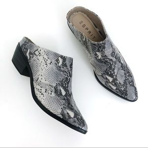 Esprit Snakeskin Diane Slip On Pointed Toe Mules